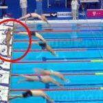 """بالفيديو.. سباح إسباني يضحي بالفوز من أجل """"حداد برشلونة"""""""