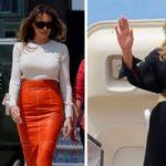 سر تغير ميلانيا ترامب ملابسها قبل الوصول للسعودية ولماذا تجاهلها الرئيس الأمريكي.. صور